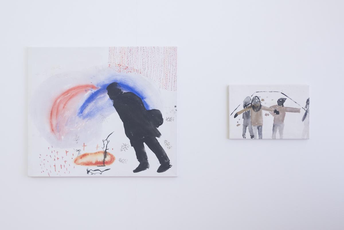 Vľavo:  Sartre against the Wind,  akryl na plátne, 95 x 110 cm, 2013 Vpravo:  Teaching the Cormorands to Fly,  tuš na plátne, 39,5 x 59 cm, 2013 Foto: Adam Šakový
