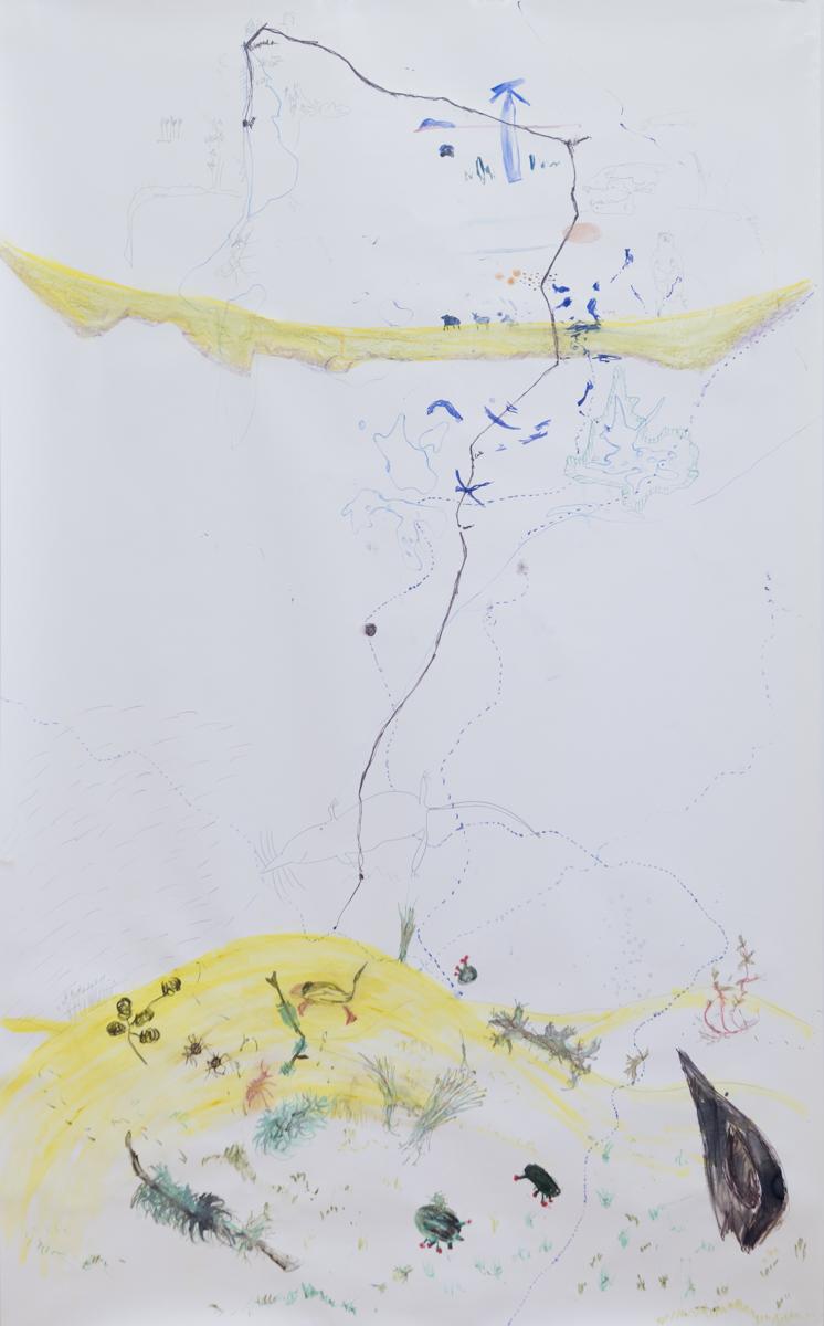 Cesta (To the Curonian Spit),  akvarel, pastelka a ceruzka na papieri, 150 x 250 cm, 2013 Foto: Adam Šakový