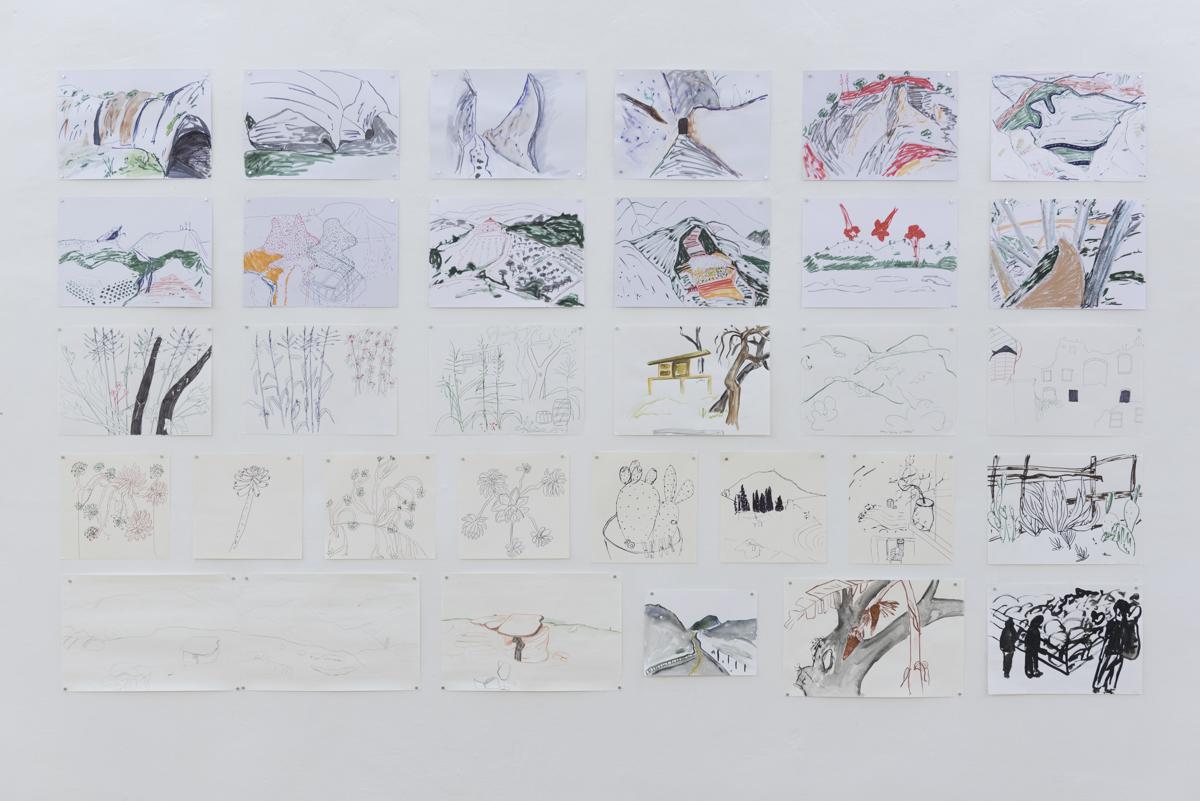 Pohľad do výstavy v GJK v Trnave, kresby z: Chelva, 2014 Dúbravica, 2013 Apricale, 2013 Sohra, Texas, La Ceiba, 2016 Foto: Adam Šakový
