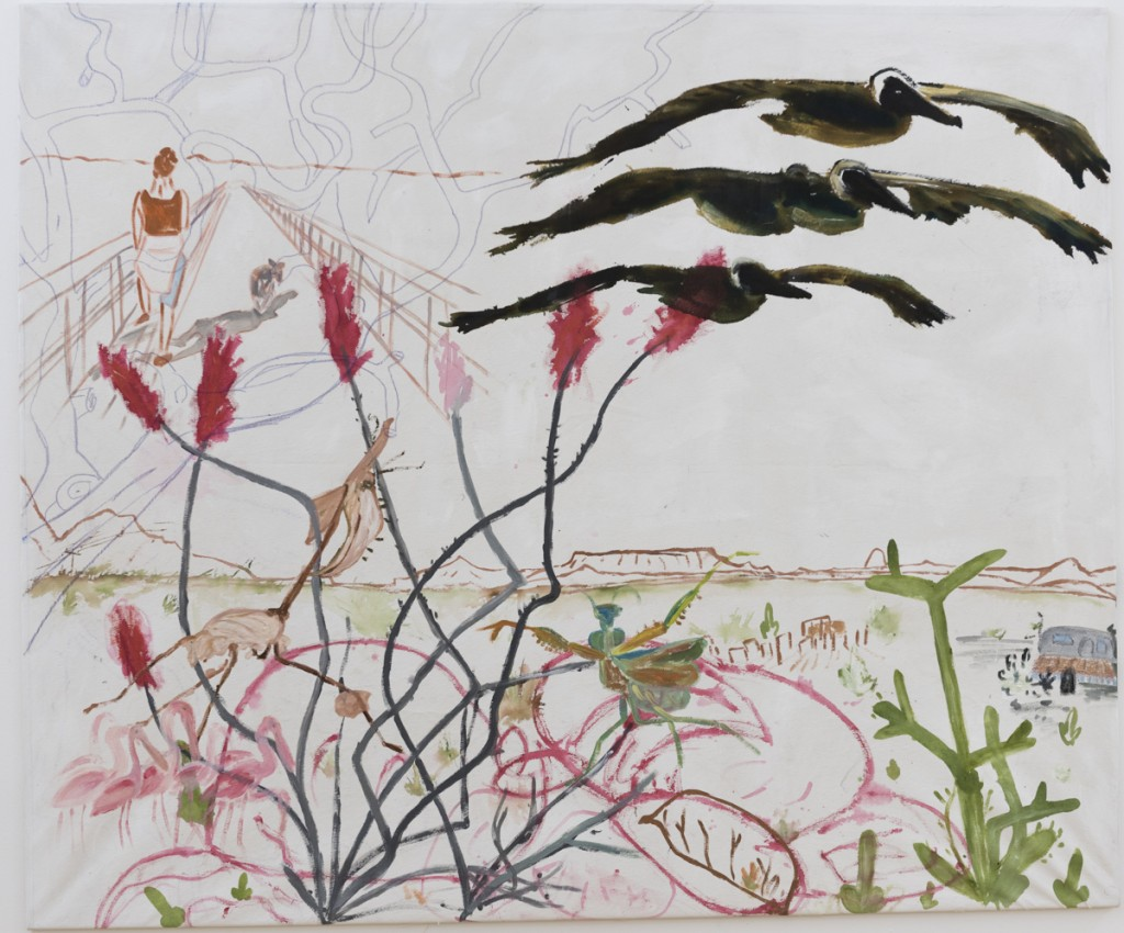 Terlingua (Into the Desert),  tuš, pastelka a akryl na plátne, 143,5 x 171,5 cm, 2016 Foto: Adam Šakový