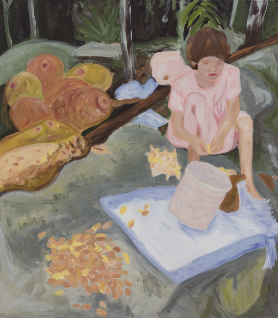 Girl with Jackfruits,  akryl na plátne, 160x140cm, 2016 Foto: Adam Šakový
