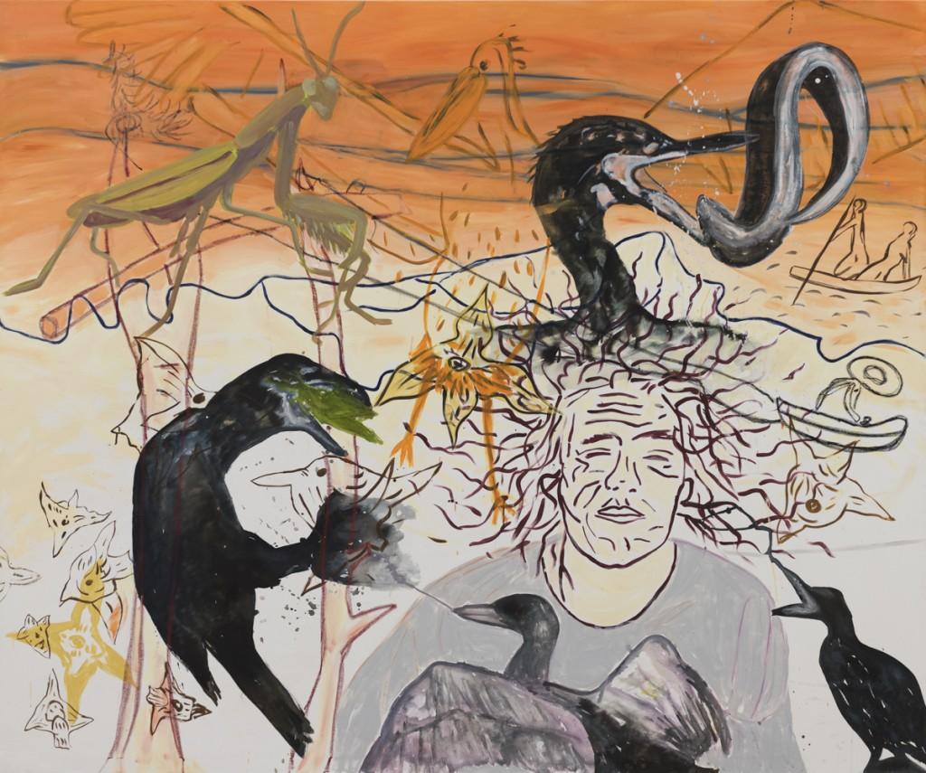 Snívalo sa mi, že ti v hlave hniezdi kŕdeľ kormoránov (Gorgona),  tuš, akryl a pastelka na plátne, 200 x 240 cm, 2015  Foto: Adam Šakový