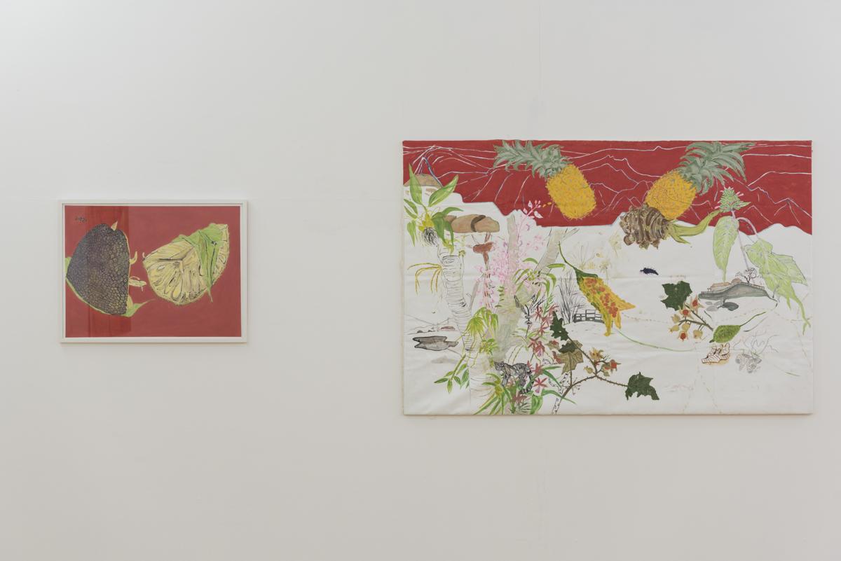 Vľavo:  Jackfruit,  akryl na ručnom indickom papieri, 60 x 80 cm, 2016 Vpravo:  Sohra in Rain (Pineapples), akvarel, akryl a ceruzka na plátne, 120 x 180 cm, 2016 Foto: Adam Šakový