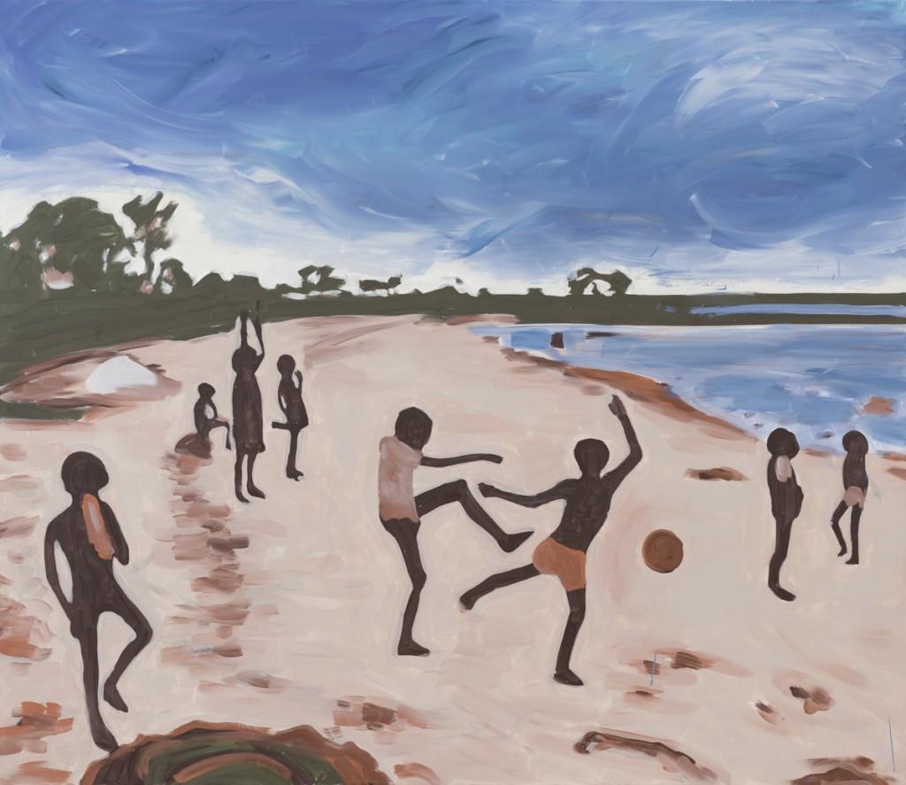Chlieb a hry (africká rozprávka),  akryl na plátne, 125 x 145 cm, 2015 Foto: Adam Šakový