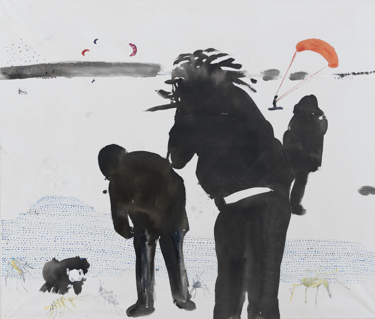 Žukaru,  tuš a akvarel na plátne, 120 x 140cm, 2013 Foto: Adam Šakový