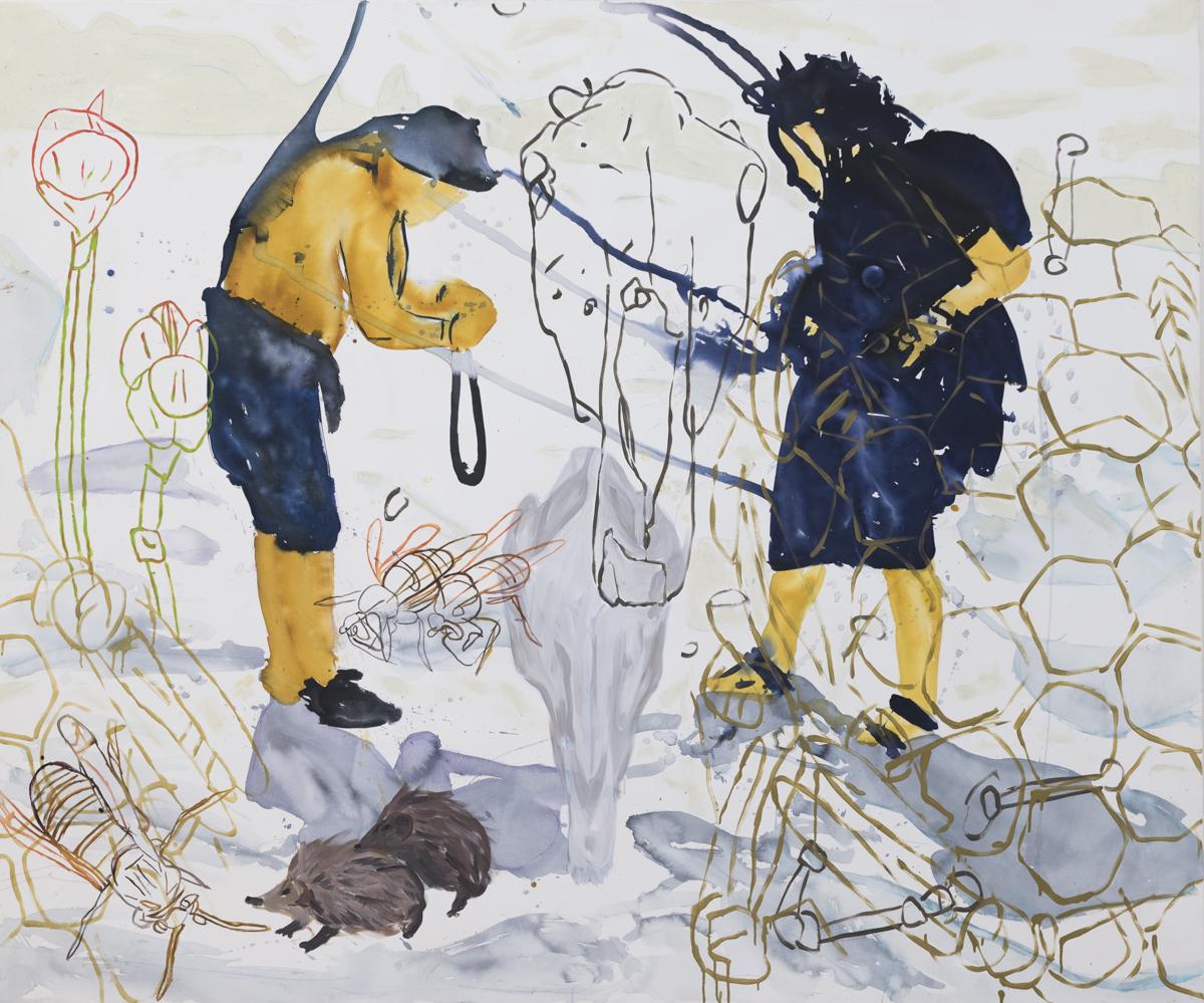 Létea (Marek, Aleš, lebka koňa a osie hniezdo),  tuš a akryl na plátne, 200 x 250cm, 2013 Foto: Adam Šakový