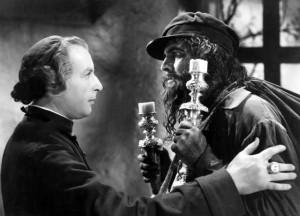 Stretnutie galejníka Valjeana s biskupom - detail z filmu Bedári.